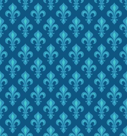 Royal Heraldic Lilies, azure cerulean blue sky velvet, seamless pattern, wallpaper background.