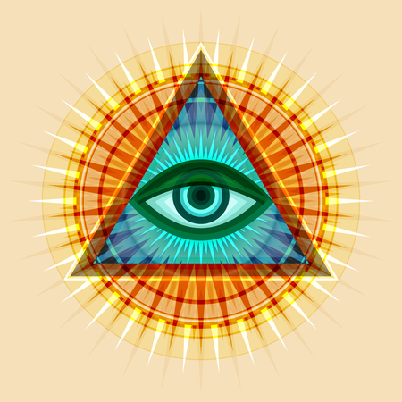 All-Seeing Eye of God (The Eye of Providence | Eye of Omniscience | Luminous Delta | Oculus Dei). Ancient mystical sacral symbol of Illuminati and Freemasonry. Иллюстрация
