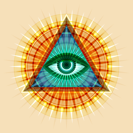 All-Seeing Eye of God (The Eye of Providence | Eye of Omniscience | Luminous Delta. Ancient mystical sacral symbol of Illuminati and Freemasonry. Vector illustration.  イラスト・ベクター素材