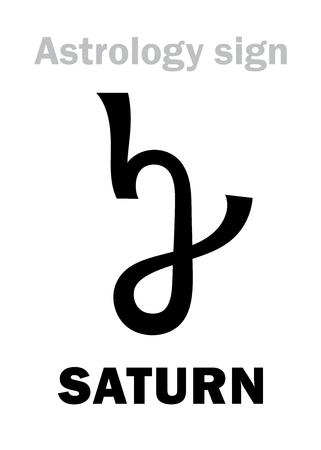 A Astrology Alphabet: SATURN, classic major planet Hieroglyphics character sign. Illusztráció