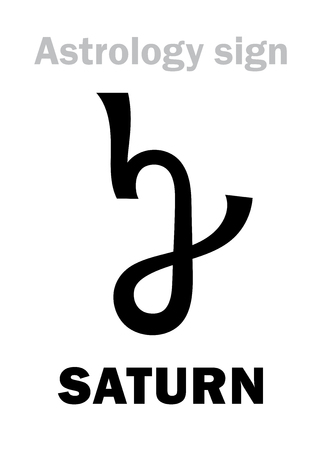 A Astrology Alphabet: SATURN, classic major planet Hieroglyphics character sign.