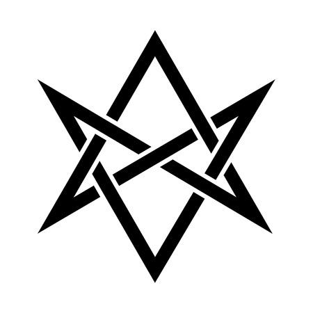 «Hexagrammum Mysticum» (unicursal hexagram) — The Horns of Asmodeus, or The Horned Head (symbol of The Horned God), Mystic Occult Sign of Black Magic and Illuminati. Illustration