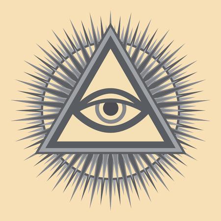 ?il de Dieu qui voit tout (L'?il de la Providence | ?il de l'omniscience | Delta lumineux). Ancien symbole sacré mystique des Illuminati et de la franc-maçonnerie.