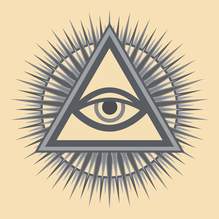 Alziend Oog van God (Het Oog van de Voorzienigheid   Oog van Alwetendheid   Lichtgevende Delta). Oud mystiek sacraal symbool van Illuminati en Vrijmetselarij.