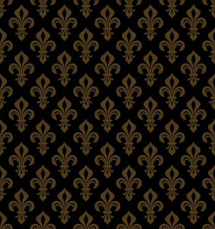 Royal heraldic lilies (fleur-de-lis), rich black golden bronze copper velvet, seamless pattern, wallpaper background.