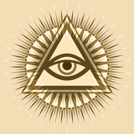 All seeing eye of God, the eye of providence, luminous delta. Ancient mystical sacrament symbol of illuminati and freemasonry. Stockfoto - 100106883