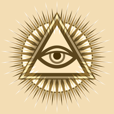 All seeing eye of God, the eye of providence, luminous delta. Ancient mystical sacrament symbol of illuminati and freemasonry.