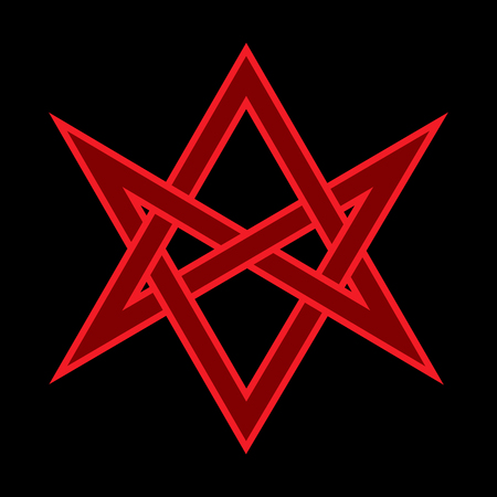 The Horns of Asmodeus, or The Horned Head (symbol of The Horned God), «Hexagrammum Mysticum» (unicursal hexagram) — Mystic Occult Sign of Black Magic and Illuminati. Foto de archivo - 100505475