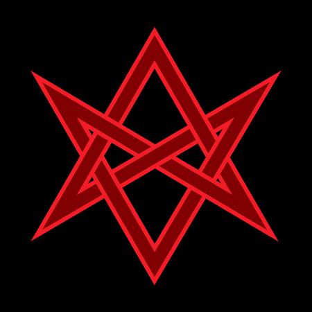 """Le Corna di Asmodeus, o La Testa Cornuta (simbolo del Dio Cornuto), """"Hexagrammum Mysticum"""" (esagramma unicursale) - Segni Mistici Occulti della Magia Nera e degli Illuminati."""