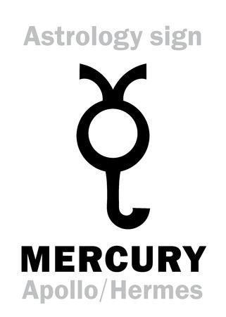Astrology Alphabet: MERCURY, the planetary star. Hieroglyphics character sign, ancient greek symbol. Stock Vector - 100656441