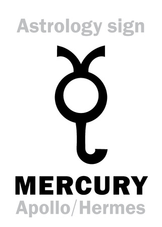 Astrology Alphabet: MERCURY, the planetary star. Hieroglyphics character sign, ancient greek symbol.