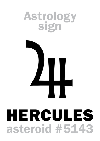Astrology Alphabet: HERCULES (Heracles), asteroid #5143. Hieroglyphics character sign (single symbol).