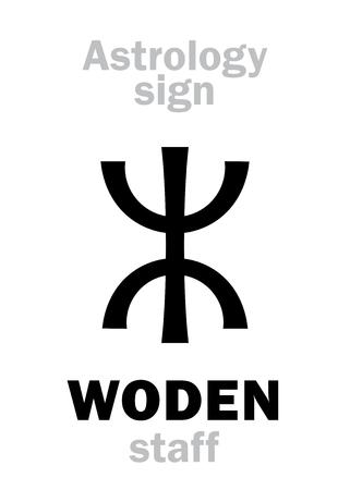 Astrology Alphabet: WODENs staff (OdinWodenWotan). Hieroglyphics character sign (single symbol). Ilustracja