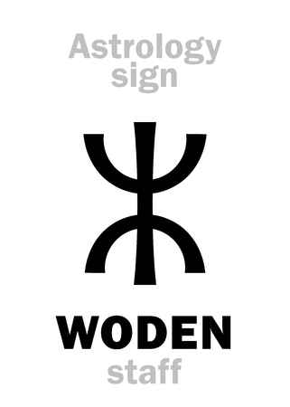 Astrology Alphabet: WODENs staff (OdinWodenWotan). Hieroglyphics character sign (single symbol). Illustration