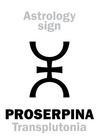 Astrology Alphabet: PROSERPINA (TransplutoniaPersephona), supreme hypothetical super-distant planet (behind Pluto). Hieroglyphics character sign (single symbol).