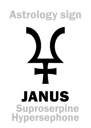 Astrology Alphabet: JANUS (Suproserpine/Hypersephone), 12th hypothetic giant dual planet (behind Pluto and Proserpine). Hieroglyphics character sign (single symbol).