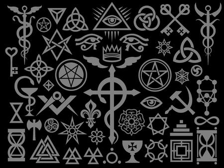 Medieval Occult Signs And Magic Stamps, Sigils, Locks, Knots. Mystic symbols of the Illuminati, Masonic Rituals and Black Magic. (Silver Black Edition).
