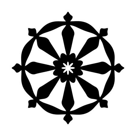 The Wheel of Samsara — Oriental Sacral Religious Symbol of Reincarnation: the cycle of death and rebirth to which life in the material world is bound (fundamental assumption of all Indian religions). Illustration