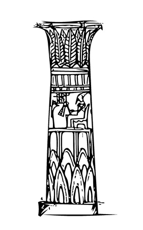 Ancient Grandiose Column with patterns and hieroglyphics in the Egyptian temple (sketch). Illustration
