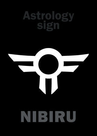 Astrology Alphabet: Orphan planet NIBIRU, The Rogue planet of Anunnaki (Aliens, the Ancient astronauts). Hieroglyphics character sign (single symbol). Illustration