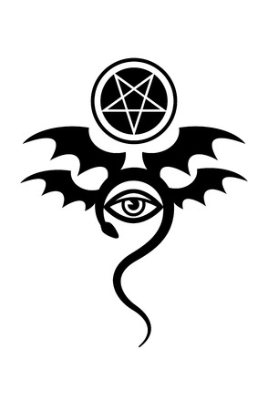 EVIL EYE (The Greater Malefic). Mystical Symbol of Black Magic, Emblem of Witchcraft and Sign of Necromancy. [tattoo]