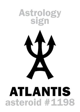 Astrology Alphabet: ATLANTIS (estate of Poseidon), asteroid #1198. Hieroglyphics character sign (single symbol). Çizim