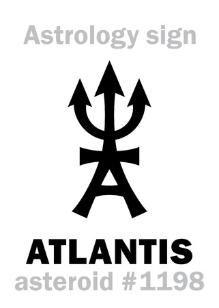 Astrology Alphabet: ATLANTIS (Ancient Legendary Civilization, continent lost in the depths of the sea, the estate of Poseidon), asteroid #1198. Hieroglyphics character sign (single symbol). Çizim