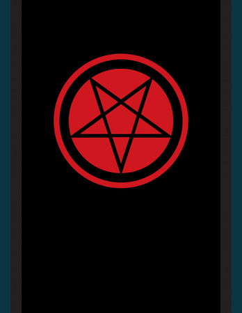 The Pentacle of Dark Art. The Title Pentagram inverted — Ancient Emblem of Witchcraft and Necromancy, Sign of Black Magic Rituals, Mystical Occult Symbol of Wiccans, Illuminati and Freemasonry. Ilustração