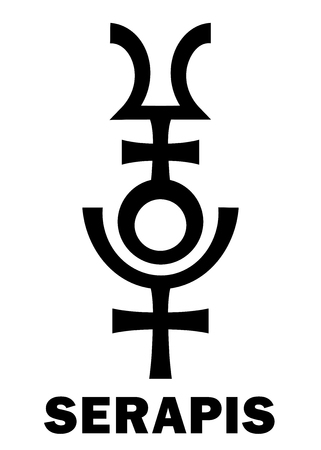 Astrology Alphabet: SERAPIS  Osiris-Apis (Userhapi), the Hellenistic Egyptian god of abundance, fertility, underworld and afterlife. Hieroglyphics character sign (original single symbol).