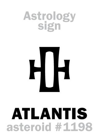 Alfabet astrologiczny: ATLANTIS, asteroida #1198. Hieroglify (symbol używany przez amerykańskich astrologów).