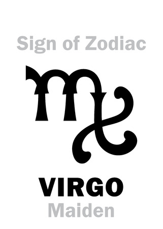 Astrology Alphabet: Sign of Zodiac VIRGO (The Maiden). Hieroglyphics character sign (medieval Portuguese symbol).
