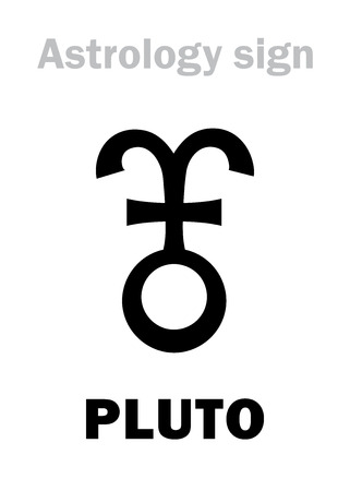 Astrology Alphabet: PLUTO, Trans-Neptunian higher global planet (planetoid). Hieroglyphics character sign (variant symbol, used by astrologers in France, Spain, Italia).