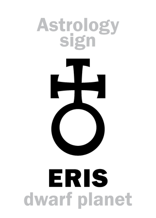 Astrology Alphabet: ERIS, most massive and second-largest superdistant dwarf planet. Hieroglyphics character sign (astrological symbol, used in Poland). Illustration