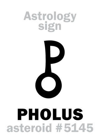 Astrology Alphabet: PHOLUS (centaur), asteroid #5145. Hieroglyphics character sign (symbol, proposed in the late 1990s). Illustration
