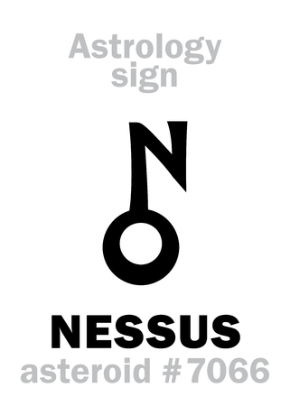 Astrology Alphabet: NESSUS (centaur), asteroid #7066, cis-Neptunian object (between orbits of Neptune and Saturn). Hieroglyphics character sign (symbol, proposed in the late 1990s).