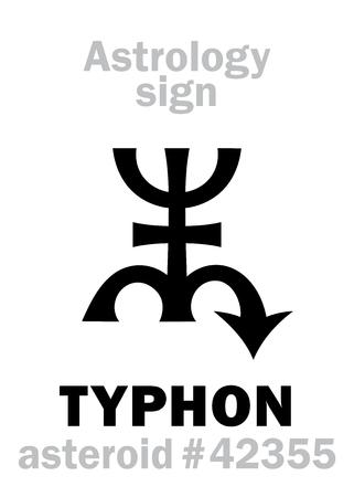 Astrology Alphabet: TYPHON, asteroid (or Scattered disc object) #42355. Hieroglyphics character sign (original symbol). Ilustração