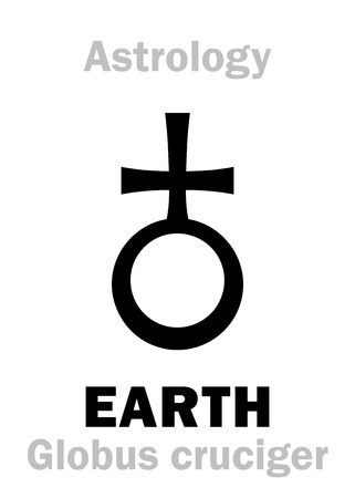 Astrology Alphabet: Sign of EARTH (The «Globus cruciger» – the orb and cross); Salvator Mundi (Latin for Saviour of the World). Hieroglyphics character sign (symbol, sometime used in Astronomy).