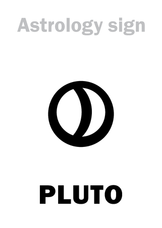 Astrology Alphabet: PLUTO, higher global planet (planetoid). Hieroglyphics character sign (variant symbol used in Germany and Denmark). Illustration