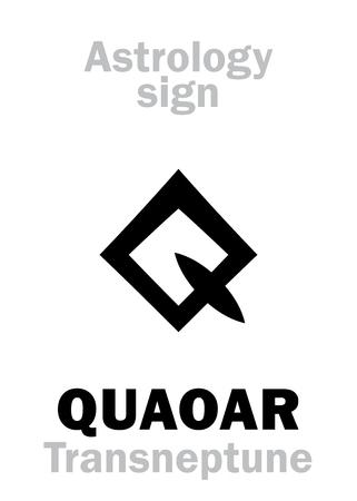 Astrology Alphabet: QUAOAR, Large massive trans-neptunian planetoid (TNO). Hieroglyphics character sign (symbol of Tongva people mythology).