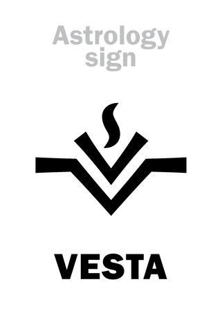 Astrology Alphabet: VESTA, asteroid #4, most bright in Asteroids belt. Hieroglyphics character sign (modern symbol: the fire on the hearth or altar). Vettoriali