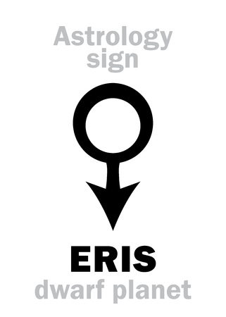Astrology Alphabet: ERIS, most massive and second-largest superdistant dwarf planet. Hieroglyphics character sign (astrological symbol).