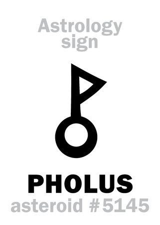 Astrology Alphabet: PHOLUS, asteroid #5145. Hieroglyphics character sign (symbol, proposed in the late 1990's).