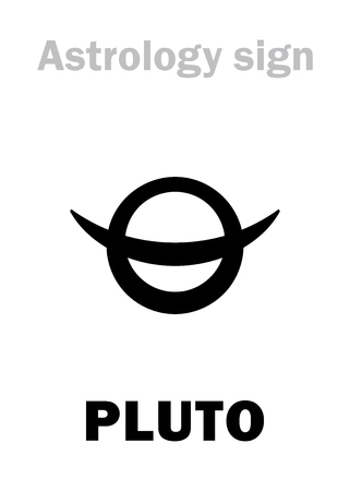 Astrology Alphabet: PLUTO, higher global planet (planetoid). Hieroglyphics character sign (early astronomical symbol, sometimes was used in the planetary ephemeris).
