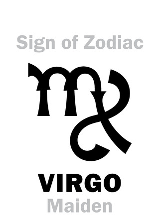 Astrology Alphabet: Sign of Zodiac VIRGO (The Maiden). Hieroglyphics character sign (single symbol). Illustration