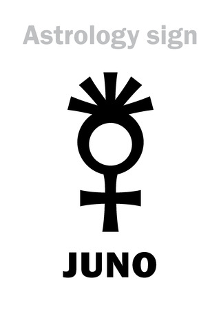 Astrology Alphabet: JUNO (Hera), classic asteroid #3. Hieroglyphics character sign (symbol, used since 1855 year). Illustration
