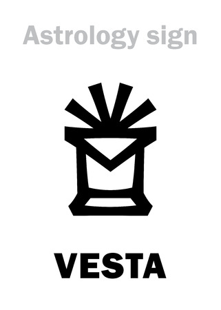Astrology Alphabet: VESTA, asteroid #4, most bright in Asteroids belt. Hieroglyphics character sign (symbol, used since 1855-? year).