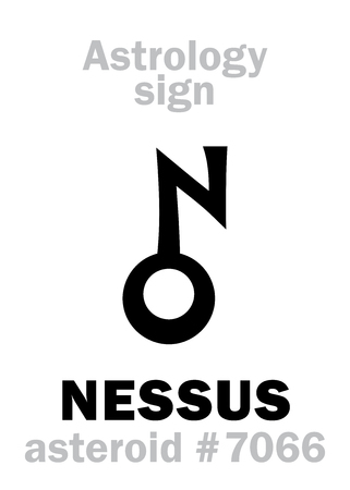 Astrology Alphabet: NESSUS, asteroid #7066, cis-Neptunian object (between orbits of Neptune and Saturn). Hieroglyphics character sign (symbol, proposed in the late 1990s).
