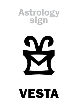 Astrology Alphabet: VESTA, classic asteroid. Hieroglyphics character sign (single symbol).