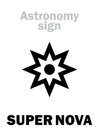 Astrology Alphabet: SUPER NOVA, Amazing brightest burst of star before its extinction, extremely energetic explosion with gamma-ray burst in The Universe. Hieroglyphics sign (astronomical symbol).