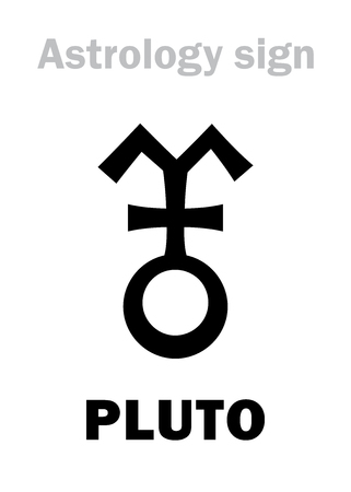 Astrology Alphabet: PLUTO, Trans-Neptunian higher global planet (planetoid). Hieroglyphics character sign (variant symbol used by French, Spanish, Italian astrologers).